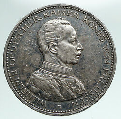 1914 Germany German States Prussia Wilhelm Ii Antique Silver 5 Mark Coin I90957