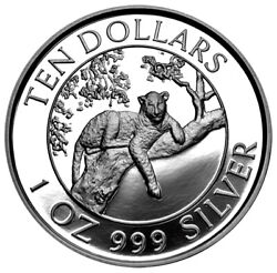 Zimbabwe 10 Dollars 1996 Silver 1 Oz. Proof And039leopardand039