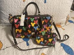 Disney Dooney And Bourke Mickey Balloons Barrel Bag Purse And Matching Wristlet Nwt
