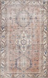 Antique Geometric Traditional Oriental Evenly Low Pile Hand-knotted Area Rug 4x6