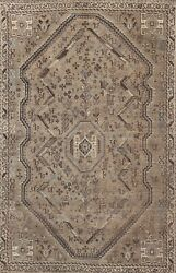 Antique Muted Distressed Hand-knotted Traditional Evenly Low Pile Area Rug 6x8