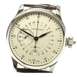 Longines Heritage 24 Hours Chronograph L2.797.4 Automatic Menand039s Leather [e0527]