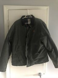Mens Sandstone Quilt Lined Duck Jacket Xl Tall Olive Color