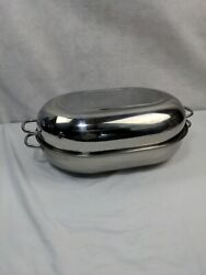 New Vintage Revere Ware 1801 Stainless Steel Roasting Pan And Lid 18 X 12.5 × 6