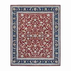 8and0392x10and039 Nain Hand Spun New Zealand Wool Red 250 Kpsi Hand Knotted Rug G62982