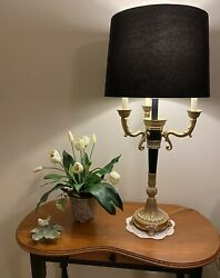 Heavy Brass Bouilotte Empire Style Lamp With 3 Candelabra Arms And Center Light