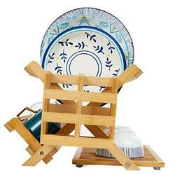 Bamboo Dish Drying Rack With Utensils Holder Collapsible Wooden Kitchen Dish