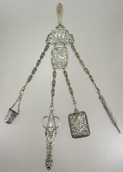 Amazing Antique Victorian Silver Plate Cherub Cupid 4 Arm Sewing Chatelaine