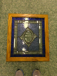 3501m Stained Glass 21x24 Window Panel Oak Framed Blue/clear Etched Hummingbird