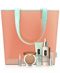 New Clinique 2021 Sunny Day Staples 5 Full Size Products With Beach Tote Bag