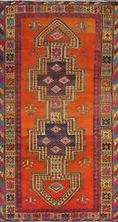 5x9 Ft Antique Geometric Oriental Traditional Area Rug Wool Hand-knotted Carpet