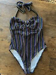 L Urban Outfitters Out From Under Swimsuit Terrycloth 80s Vibes Hi Cut High