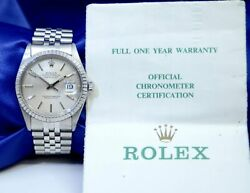 Rolex Menand039s Watch Oyster Perpetual Datejust 16030 Stainless Steel W/papers