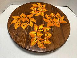Lazy Susan Handcrafted Solid Wood Turntable Orange Floral Design Hand Painted