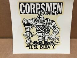 Vintage And Original Ed Roth 1960and039s U.s. Navy Corpsmen Rules Viet Nam Water Decal