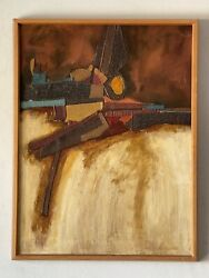 A Rodriguez Modern Abstract Collage Oil Painting 1960s Vintage Native Alfredo