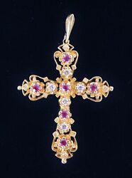 Vintage Estate 14k Solid Yellow Gold Ornate Crucifix Cross W Diamonds And Rubies