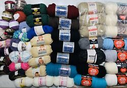 Huge Lot 50 Yarn Skeins Assorted Colors/ Brands Red Heart, Couture Jazz, Lion