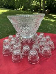 Punch Bowl 24 Cups Anchor Hocking Diamond Pt Wexford Great Shape