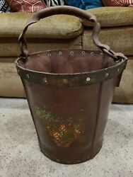 Nice Antique Firemanand039s Bucket Fire Department Fire Men Pail Leather