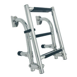 Marine Boat Foldable 3 Step Ladders -stern Mount With Rubber Grips Stainless