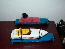 Lionel 16734 Uscg Operating Searchlight Car And 16960 Uscg Operating Speed Boat