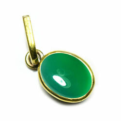 Genuine Cabochon Oval Stone Green Onyx 18k Gold Plated Simple Pendants For Women