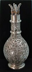 Japanese Sterling Silver And Clear Glass Overlay Decanter/condiment Bottle C. 1900