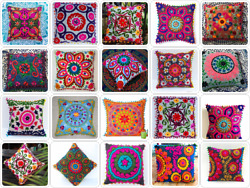 16 Mandala Square Suzani Cushion Pillow Cases Embroider Work Lot Of 100 Pieces