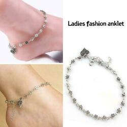 Antique Silver Chain Sexy Love Heart Plum Flower Anklets Foot Jewelry P5r9