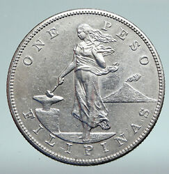 1903 S Philippines Under Us Administration W Eagle Old Silver Peso Coin I90878