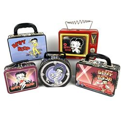 Vintage Lot Of 5 Betty Boop Metal Lunch Boxes 1990s King Features Syndicate