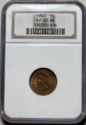 1892 Indian Head Cent 1c Penny Ngc Proof 65 Red