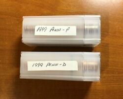 1999 Pennsylvania Pandd State Quarter Uncirculated Rolls In Plastic Tube