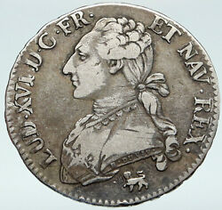 1792 A France King Louis Xvi Silver Antique Vintage French 1/2 Ecu Coin I87065