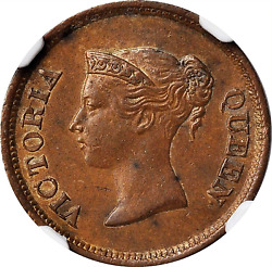 1845 Straits Settlements Queen Victoria Copper 1/4 Cent Ngc Ms-62 Brown