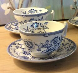 Spode Cup And Saucer Clifton White Blue Floral X 2