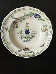 Charming Longchamp France Moustiers 9-inch Hand Painted Soup Bowl