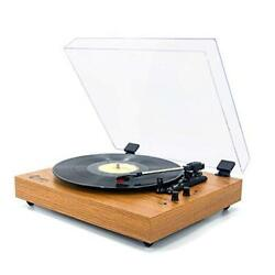 Retro Record Player For 33/45/78 Rpm Vinyl Records,bluetooth Belt Yellow Wood