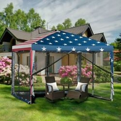 Outdoor 10x10 Pop Up Canopy Tent Gazebo Canopy 4 Removable Mesh Wall Large Space