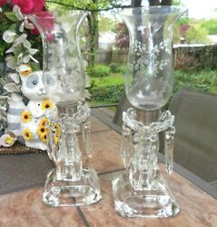 Pair Vtg Thick Etched Glass Table Vanity Lamps, Candle Holders W Crystal Prism