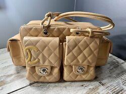 3900 Beige Quilted Leather Ligne Cambon Reporter Bag