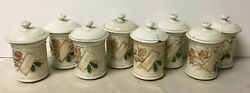 Lot Of 8 Small Antique Decorated Porcelain Apothecary Drugstore Medicine Jars