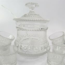 Vintage Rope And Bead Punch Bowl With Cover, Dipper And Ten Cups Aa111