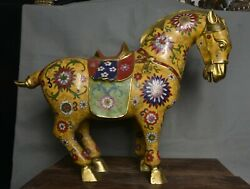 19.2 Old China Cloisonne Copper Dynasty Palace Tang Horse War Flower Sculpture