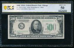 Ac 1934a 500 Five Hundred Dollar Bill Chicago Pcgs 50