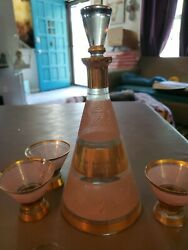 Vintage Glass Decanter Set Gold And Pink Signed Fryns Distillateurs Hasselt