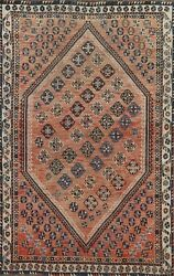 Antique Oriental Geometric Traditional Area Rug Wool Hand-knotted 4x7 Home Decor