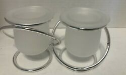 Partylite Silver Plated Gemini Silver Twin Candle Holder Retired Model P7207