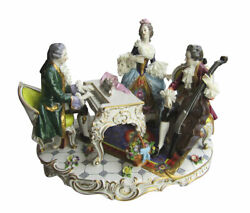 Large Volkstedt German Porcelain Figural Grouping Of 3 Musicians - 15 Inches